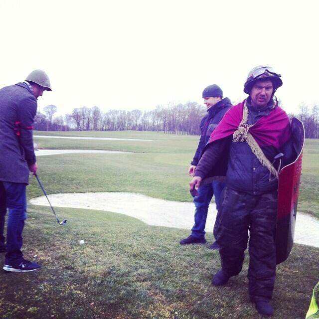 Uninvited guests at the palace enjoy a round of golf