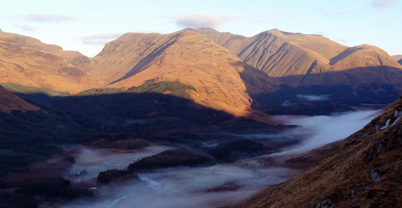 View to Bidean nam Bian across a misty Glen Etive