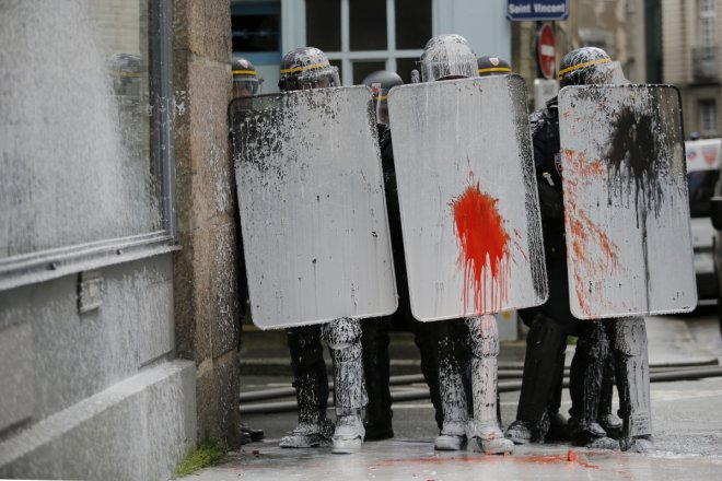 French riot police under attack from paint lobby by environmental activists