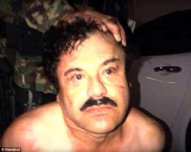 Mexican authorities yesterday released this picture of Guzman immediately after his arrest. 'Big Strike' tweeted Mexican president Felipe Calderon.