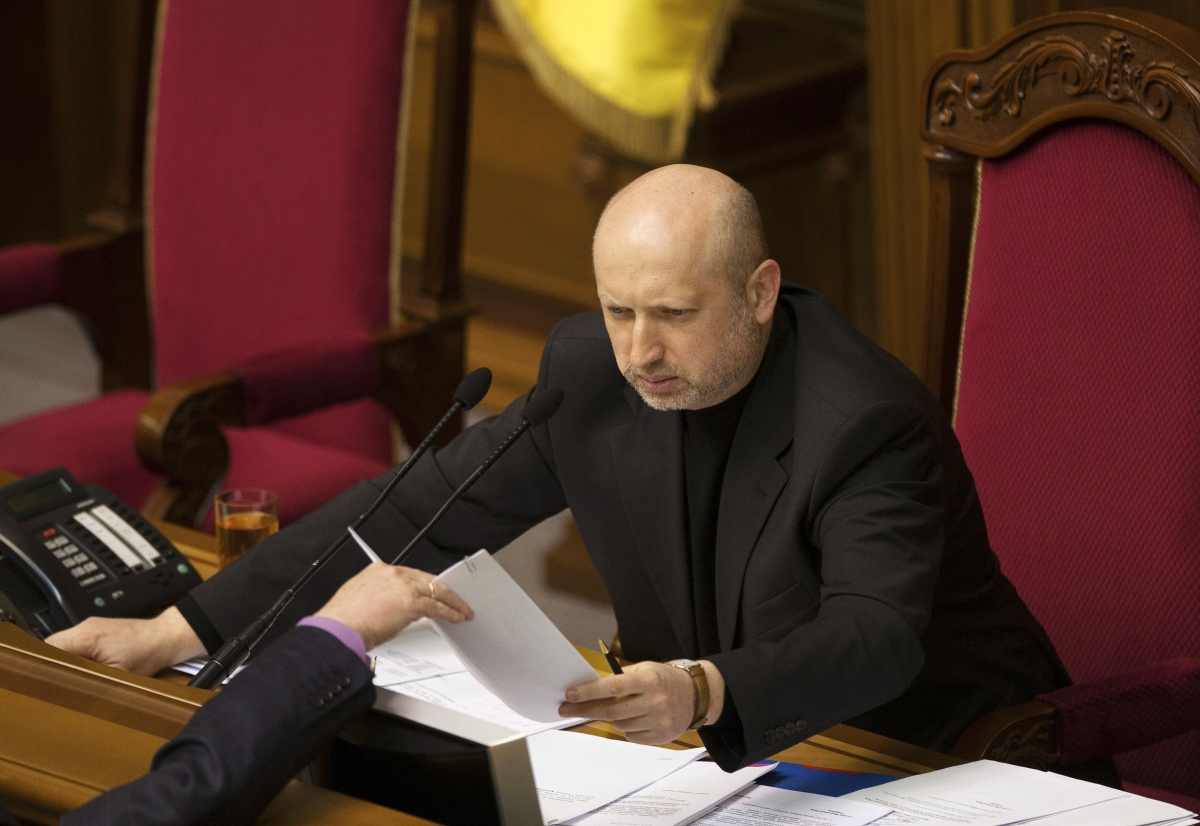 The newly elected speaker of parliament Oleksander Turchinov has been named interim president of the Ukraine