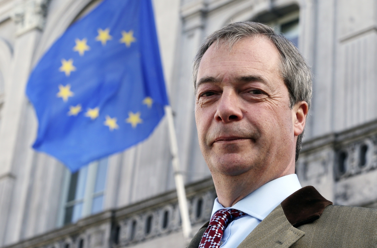 Nigel Farage beneath the EU flag in Brussels