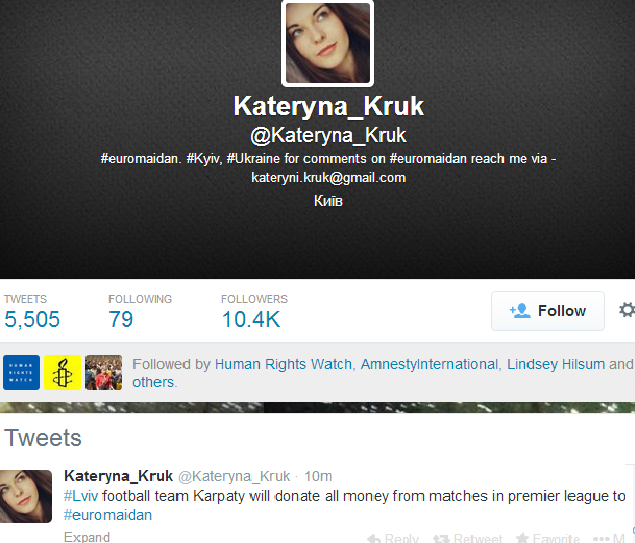 Kateryna Kruk Twitter page