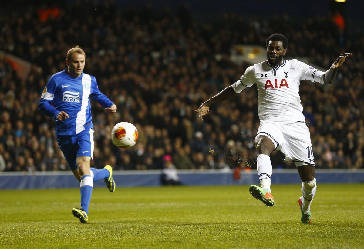 Adebayor scored twice as Tottenham beated Dnipro 3-2 in Europa League