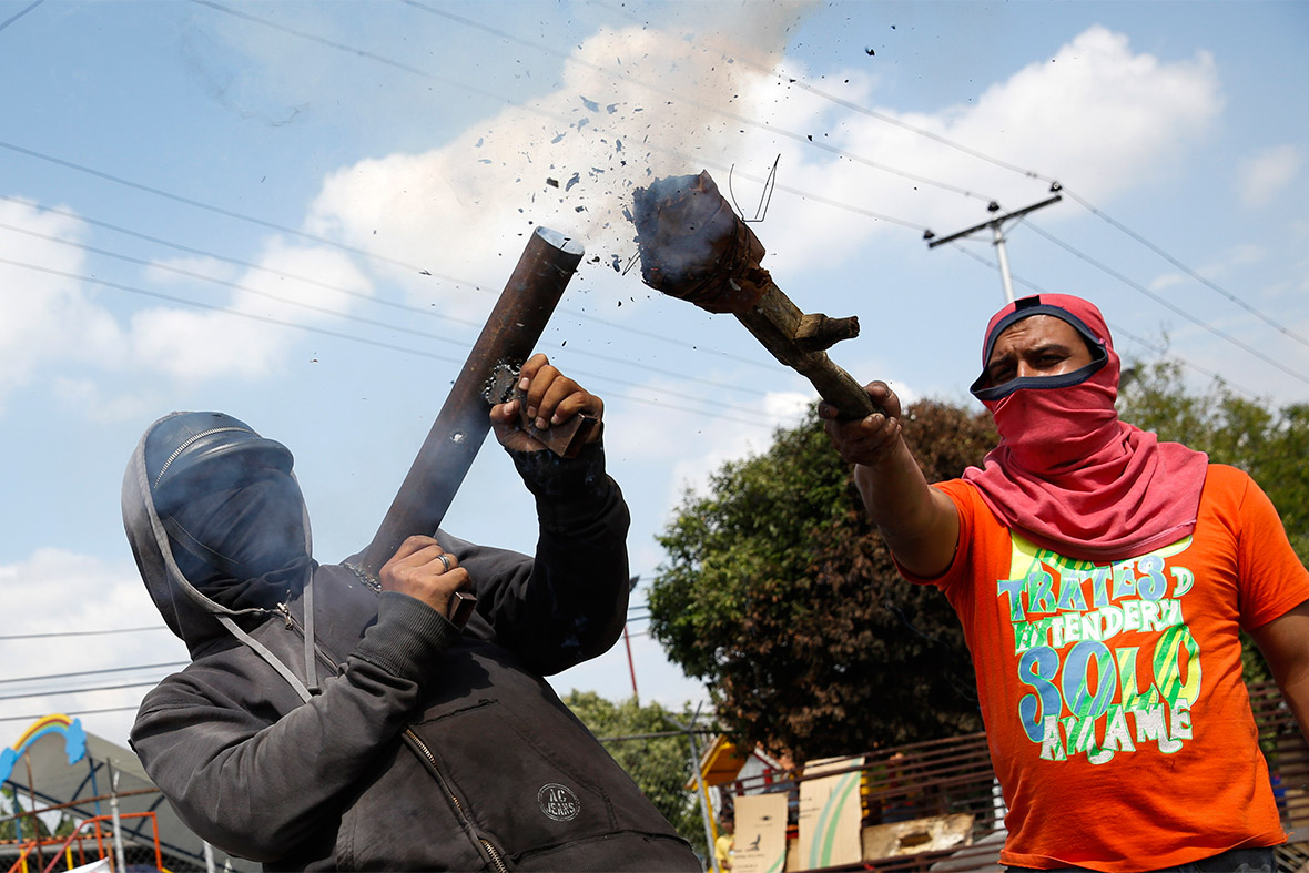 homemade mortars and slingshots used in venezuela clashes