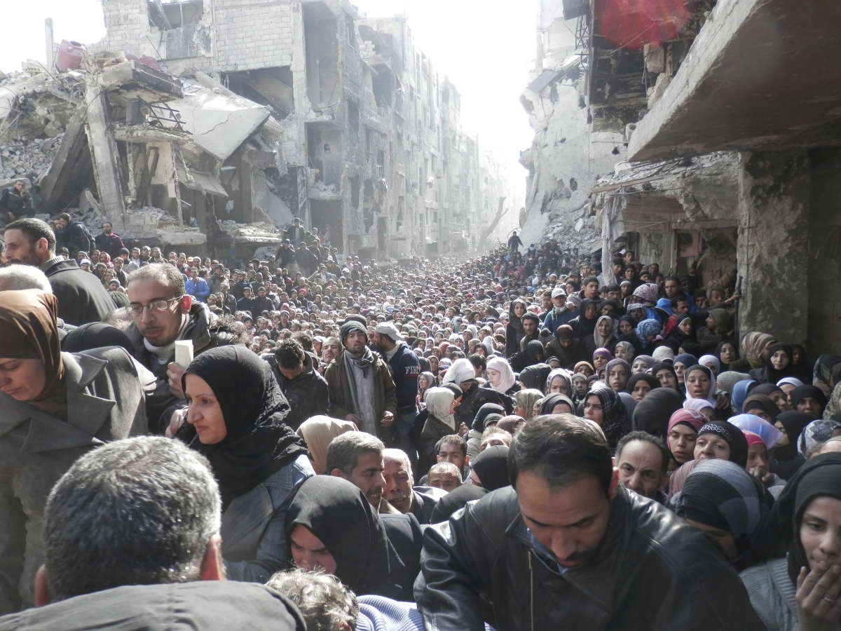 Yarmouk Syria Food UN Queue Middle East Development United Nations