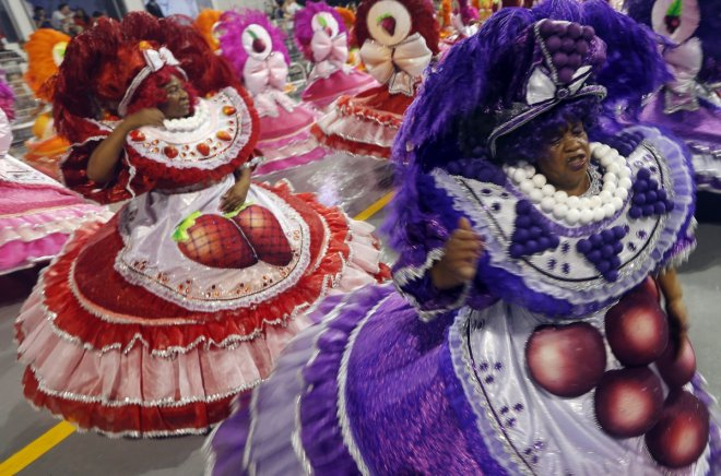 Revellers from the Dragoes da Real samba school take part in the first night of the Special Group category of the annual Carnival parade in Sao Paulo's Sambadrome March 1, 2014.