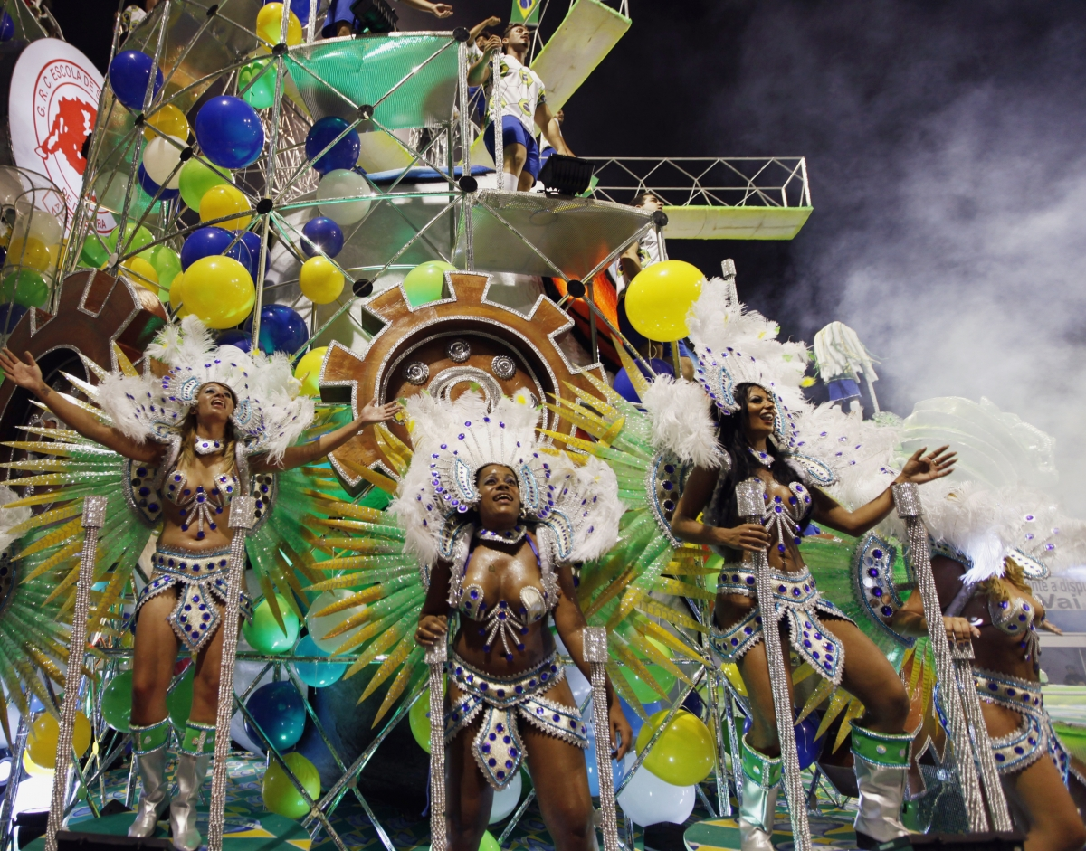 Revellers from the Leandro de Itaquera samba school take part in the first night of the Special Group of the annual Carnival parade in Sao Paulo's Sambadrome February 28, 2014.