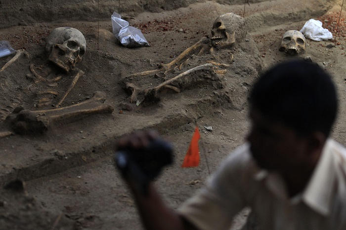 A mass grave site in the former war zone of Mannar, about 203 miles from Sri Lanka's capital Colombo.