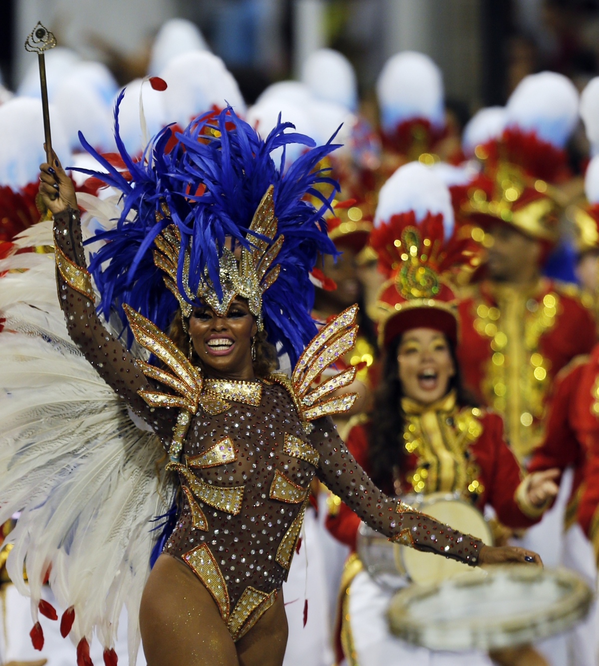 Revellers from the Perola Negra samba school take part in the Special Group category of the annual Carnival parade in Sao Paulo's Sambadrome March 1, 2014.