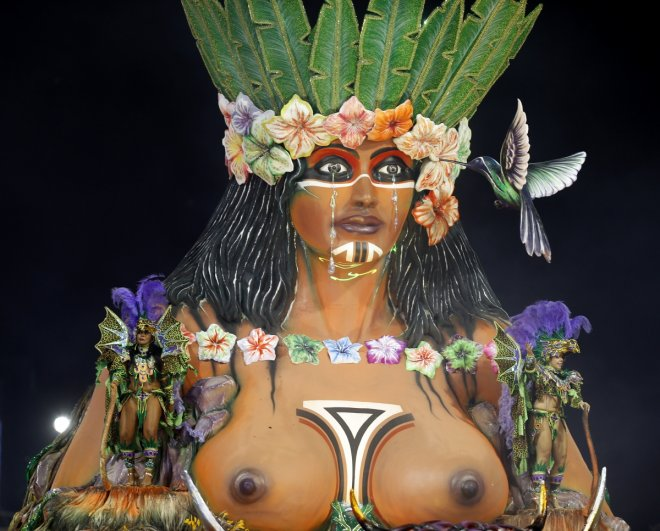 Revellers from the Aguia de Ouro samba school take part in the second night of the Special Group category of the annual Carnival parade in Sao Paulo's Sambadrome March 2, 2014.