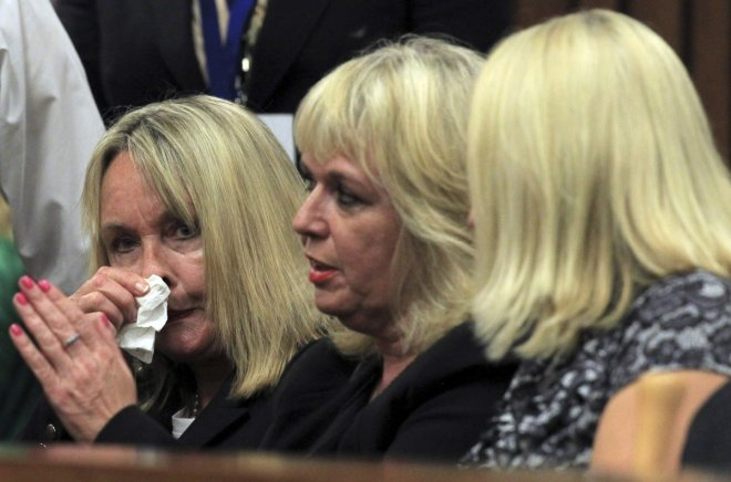 June Steenkamp appears emotional at North Gauteng High Court for the start of murder trial of Oscar Pistorius