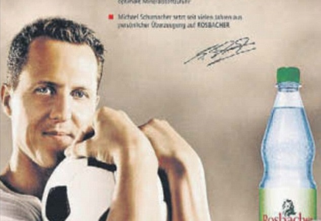 Image of Michael Schumacher on German bottled water firm's website despite pledge to cull picture