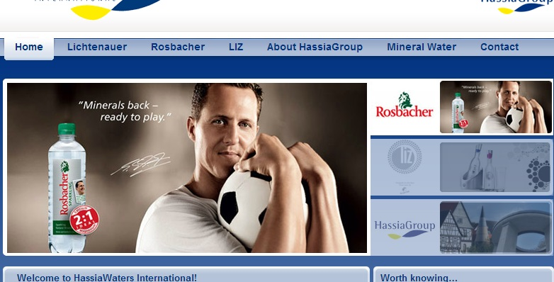 Hassia website clearly displays Michael Schumacher despite pledge to remove the image from promotional activity