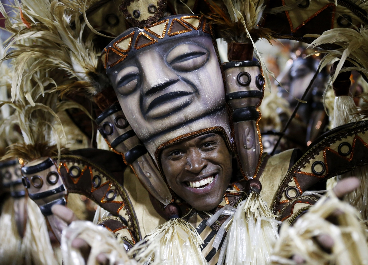 A reveller of the Salgueiro samba school participate in the annual Carnival parade in Rio de Janeiro's Sambadrome, March 3, 2014.
