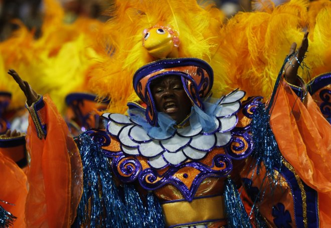 A reveller of the Salgueiro samba school participate in the annual Carnival parade in Rio de Janeiro's Sambadrome, March 3, 2014.