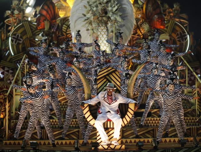 Revellers of the Salgueiro samba school participate in the annual Carnival parade in Rio de Janeiro's Sambadrome, March 3, 2014.