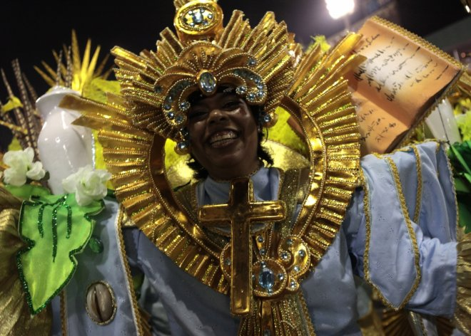 Revellers of the Sao Clemente samba school participate in the annual Carnival parade in Rio de Janeiro's Sambadrome, March 3, 2014.