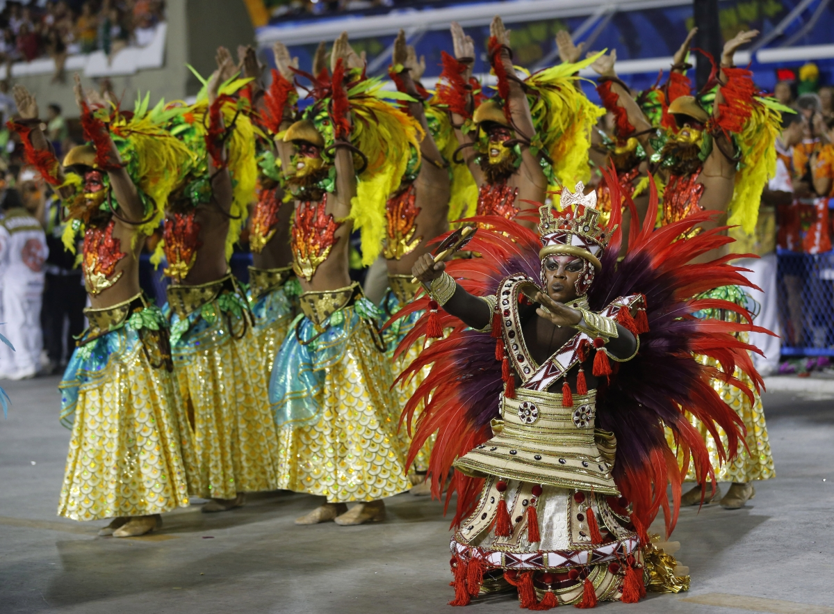 Revellers of the Salgueiro samba school participate in the annual Carnival parade in Rio de Janeiro's Sambadrome, March 3, 2014