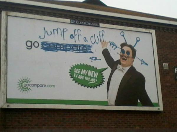 Gocompare billboards were 'defaced'