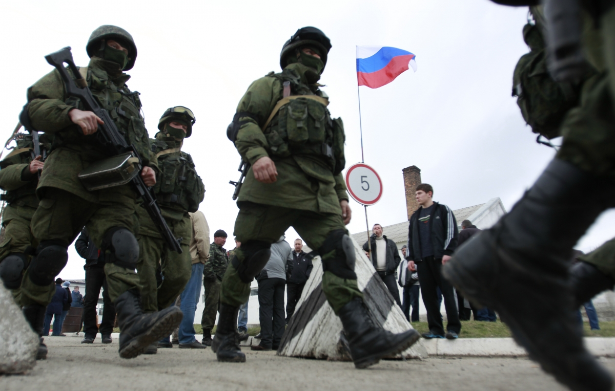 Russian troops in Ukraine's Crimea