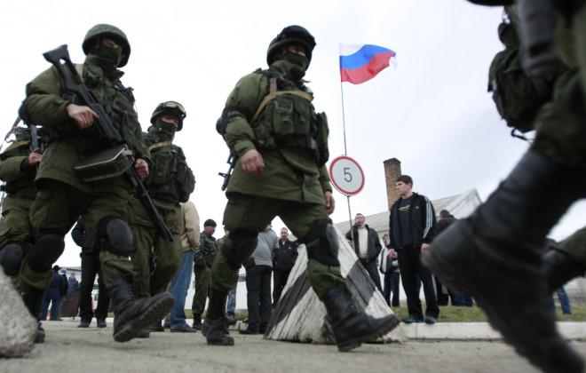 Russian troops in Ukraine's Crimea