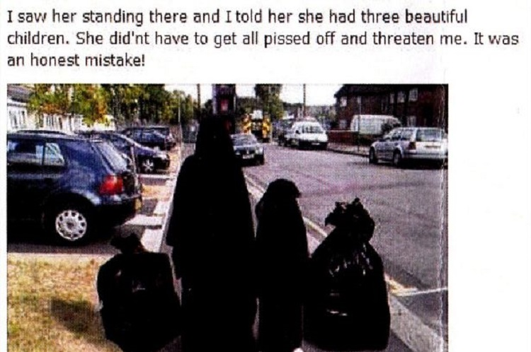 Controversial image of a woman and child dressed in Burkas resembling bin bags