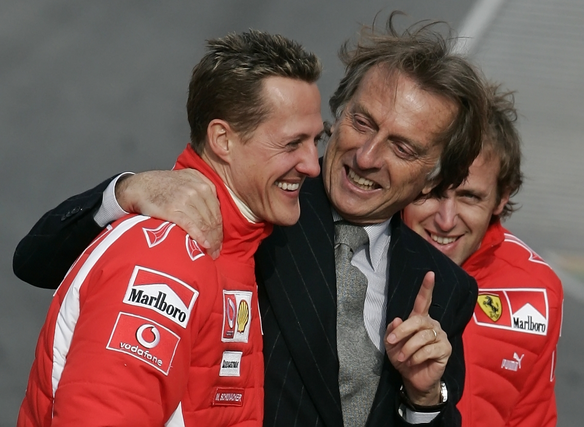 Ferrari President Luca Cordeo di Montezemolo (l) with Michael Schumacher in 2006. Montezemolo has spoken of his shock at the German's injuries