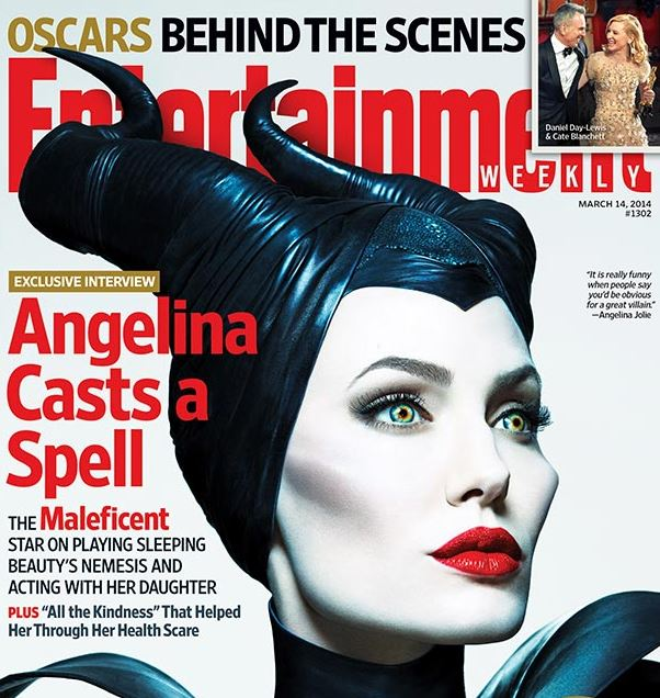 Angelina Jolie posed as character Maleficent on the cover of Entertainment Weekly's latest issue.