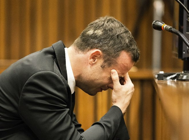 Oscar Pistorius when visibly moved when hearing testimony from Dr Johan Stipp about how he found Reeva Steenkamp dead