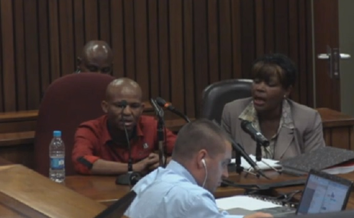 Pieter Baba gives evidence at the Oscar Pistorius murder trial via an interpreter
