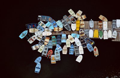 Dinghies Clustered Around Dock, Duxbury, MA 1993