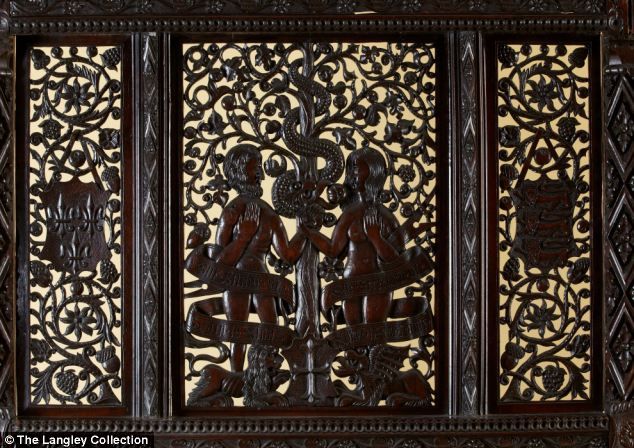 Ornate carving on the headboard which experts believe establishes it onece belonged to the parents of Henry VII.