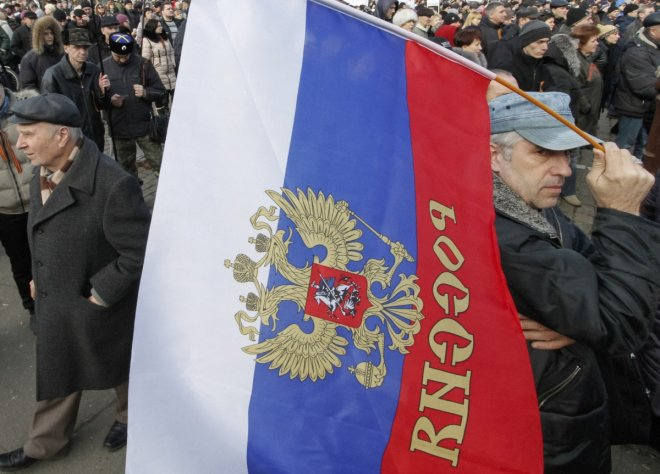 Pro-Russia demonstrators march in Odessa.