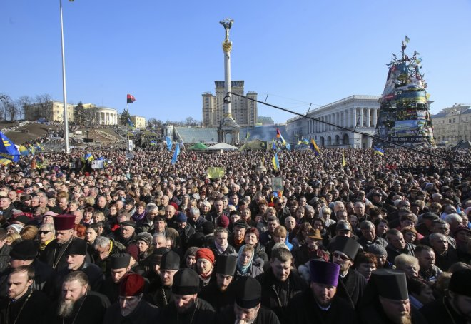 The crowds gather in Kiev's Independence Square.