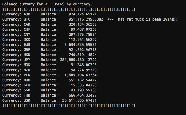 A screenshot showing Mt. Gox bitcoin balances