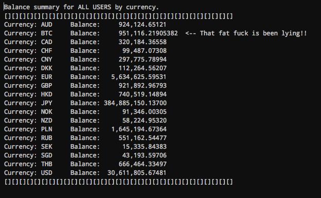 A screenshot showing Mt. Gox bitcoin balances