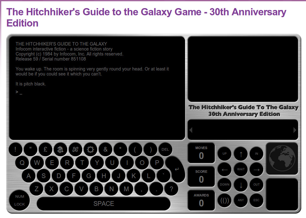 the hitchhikers guide to the gaalxy game