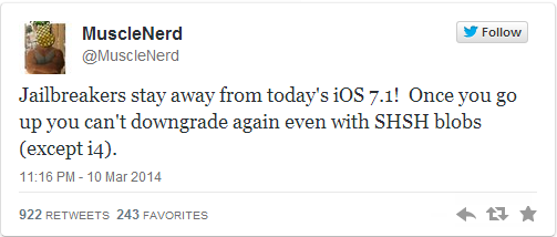 Evad3rs Urge Jailbreakers to Avoid iOS 7.1, Apple Credits Evad3rs for Revealing Security Flaws
