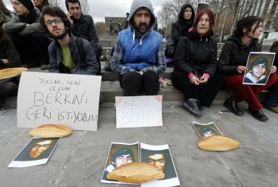 People attend a sit-in demonstration after the death of Berkin Elvan