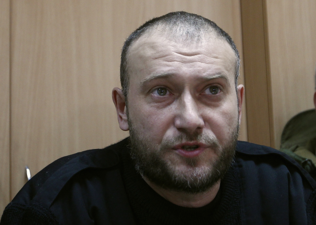 Yarosh, a leader of the Right Sector movement, speaks during a news conference in Kiev