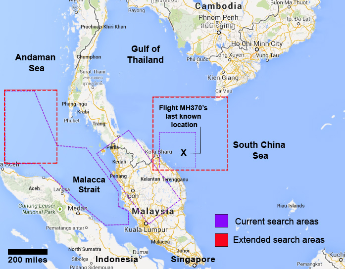 Malaysia Airlines Flight MH370 Crash Map