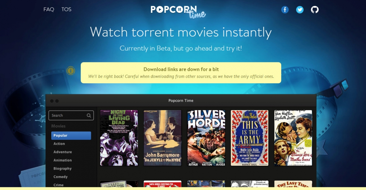 Popcorn Time app taken offline by Dotcom's Mega hosting service