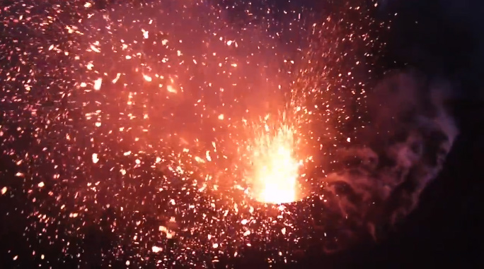 Unmanned flying drone captures incredible video footage of Mount Yasur live volcano