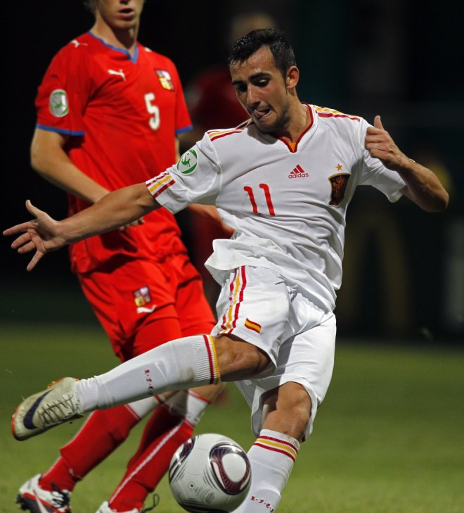Paco Alcacer of Spain scores the winning goal against the Czech Republic during the UEFA European Under-19 Championship final.