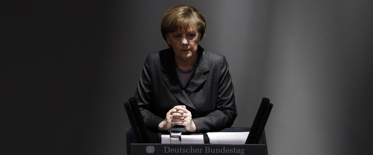 German Chancellor Angela Merkel addresses the Bundesta