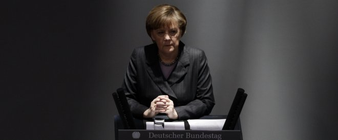 German Chancellor Angela Merkel addresses the Bundesta
