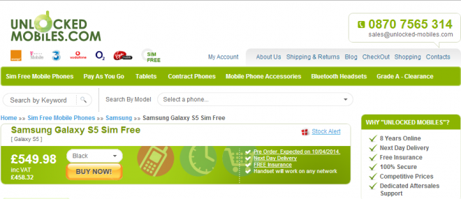 Galaxy S5 UK Pre-Orders Start 28 March