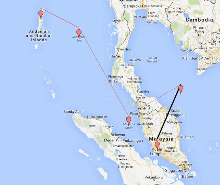 Malaysia Airlines Flight Missing Thailand Asia Peninsula Flight Path