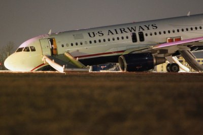 A US Airways plane with a collapsed nose is seen at Philadelphia International Airport